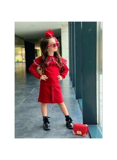 Quzucuk Kids Kız Çocuk Ponponlu Kırmızı Triko Takım Renkli